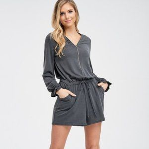 Long Sleeve Solid Romper With Waist Tie